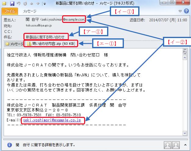 製品に関する問合せメール例
